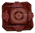 Hand Painted and Carved Ceramic Square Plate - CER-P001-RED
