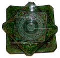 Hand Painted and Carved Ceramic Square Plate - CER-P001-GR