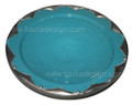 17 Inch Ceramic Plate with Silver Metal Rim CER-P016