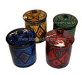 Set of 4 Hand Painted Ceramic Cups with Lid - CER-C001