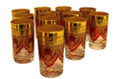 Red and Gold Floral Motif Tea Glasses TG015