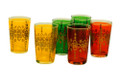 Multiple Color with Gold Motif Tea Glasses - TG007