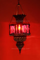 Brass with Red Colored Glass Chandelier CH055