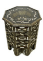Metal and Bone Octagon Shaped Glass Top Side Table - MB-ST001
