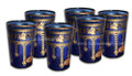 Gold Floral Motif Blue Colored Tea Glasses TG030