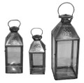 Silver Metal with Clear Glass Lantern LL075S