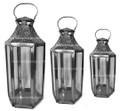 Silver with Clear Glass Lantern LL077S