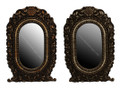Moroccan Metal and Bone Mirror with Carved Wood – M-MW004