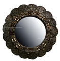 Bone-Metal-Wood Round Flower Shaped Mirror M-MB029
