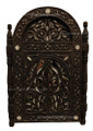 2 Doors Carved Wood with White Bone Inlay Mirror M-W007