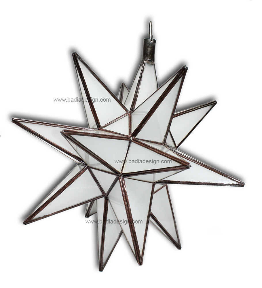 Star lantern with white colored glass