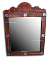 Round Top Metal and Wood Rectangular Mirror - M-MW007