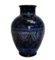 16 Inch Tall Hand Painted and Carved Ceramic Vase CER95XL