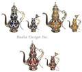 Decorative Metal and Ceramic Teapot - CER012