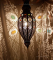Moroccan Hanging Lantern with Multi Color Glass - LIG101
