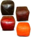 Moroccan Square Leather Ottoman - SLO101