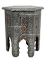 Metal and Bone Hexagon Side Table with Glass Top - MB-ST003