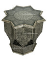 Silver Nickel Star Shaped Side Table with Glass Top - NK-ST001