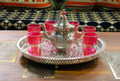 Moroccan Tea Set with Tea Pot and Round Silver Tray - SET1