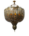 Large Moroccan Chandelier with Amber Color Glass - CH064