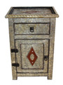 Moroccan Metal and Leather Cabinet - ML-CA008