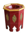 Octagon Shaped Metal and Leather Side Table - ML-ST005