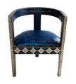 Moroccan Leather Chair with Metal and Bone - MB-CH018