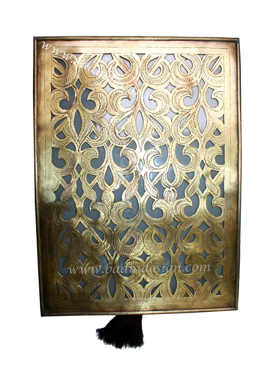 Moroccan Brass Wall Sconce with White Glass from Badia Design Inc.