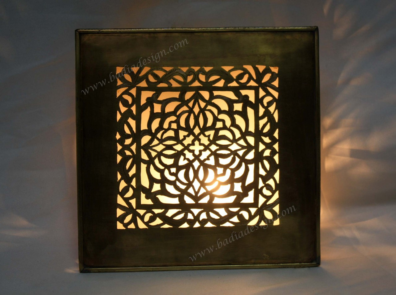 Decorative Moroccan Brass Wall Sconce with White Glass from Badia Design Inc.