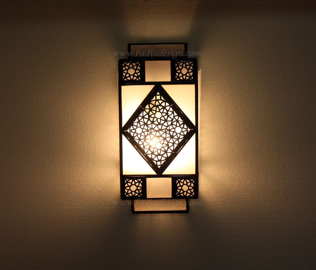 Moroccan Metal Wall Sconce with White Glass from Badia Design Inc.