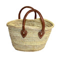 Straw Handbag with Brown Leather Handle - HB008