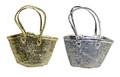 Gold and Silver Straw Lined Handbag - HB009