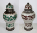Hand Painted Metal and Ceramic Urn - VA038