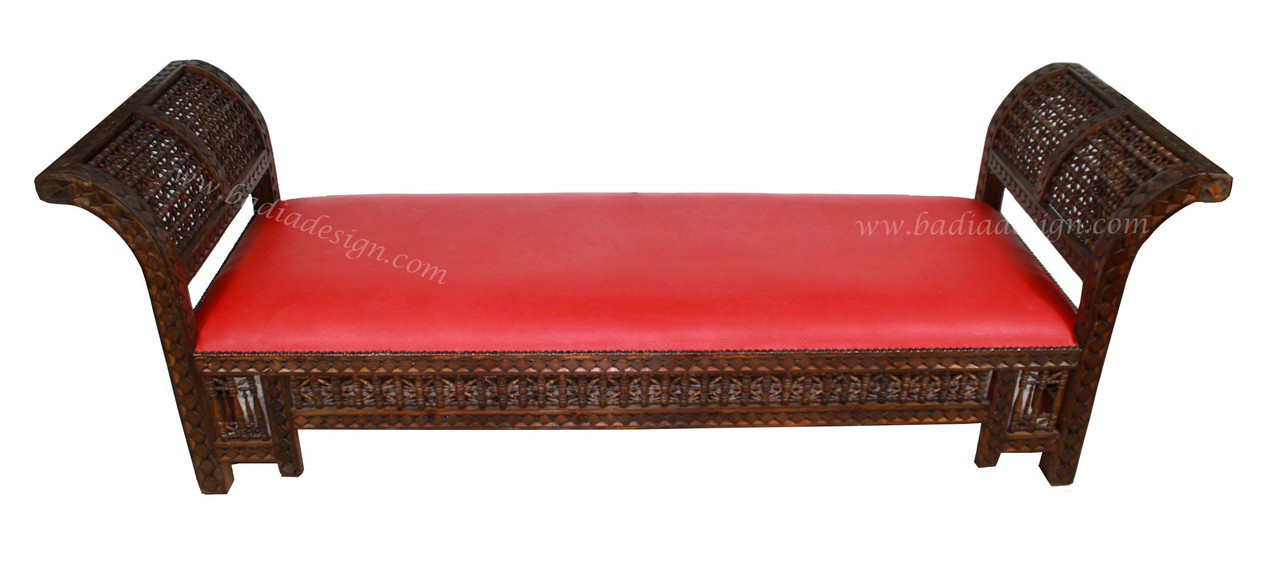 Moroccan hand carved wooden bench with red processed leather from badia design inc Moroccan bench
