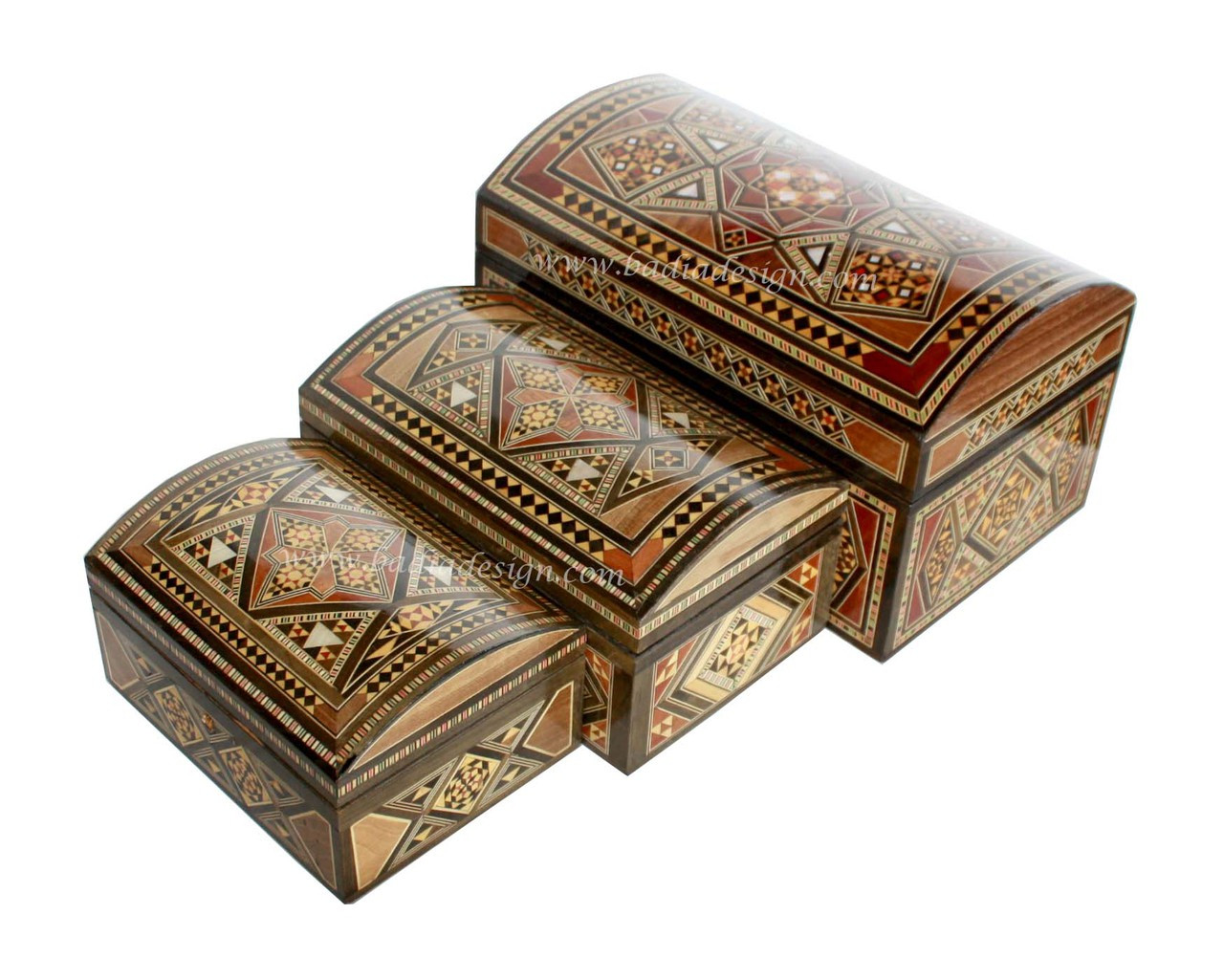 Inlaid Wooden Jewelry Box with a Syrian Design