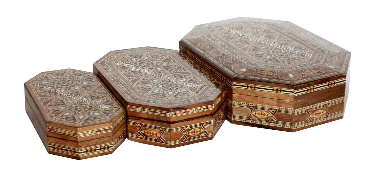 Rectangular Shaped Inlaid Wooden Jewelry Box with a Syrian Design