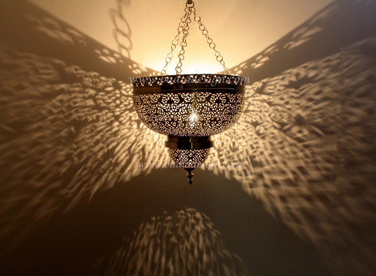 Moroccan Hand Punched Hanging Silver Lantern from Badia Design Inc.