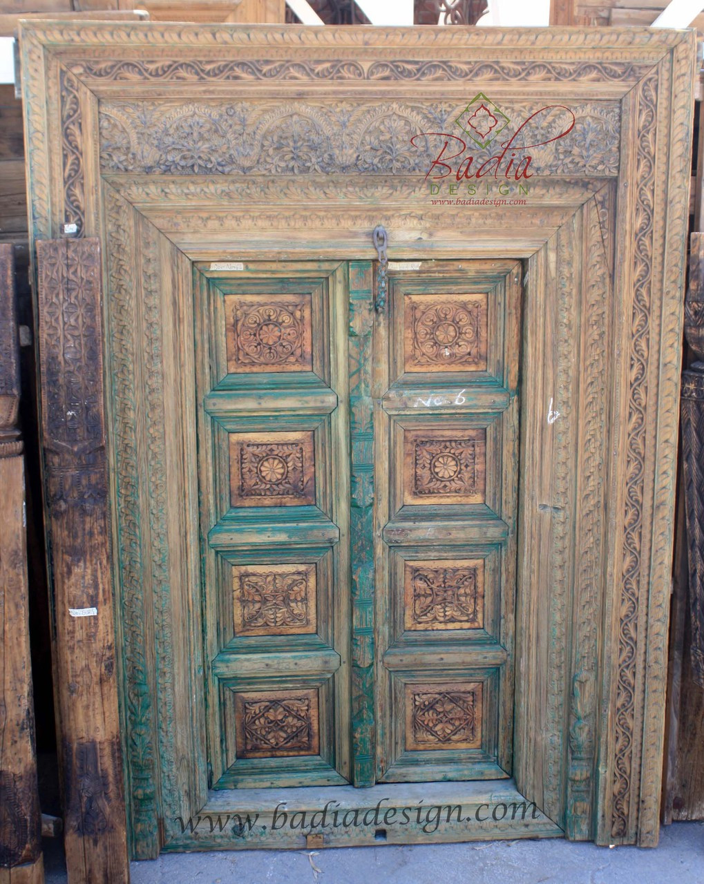Vintage Hand Carved Wooden Door from Badia Design Inc.