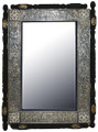 Nickel and Camel Bone with Carved Wood Frame Rectangular Mirror M-NB002