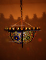 Brass with Multiple Colored Glass Inverted Bowl Chandelier CH008