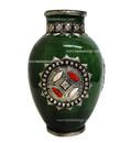 Metal and Bone Large Green Ceramic Vase CER76-GR