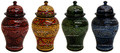 Hand Painted Carved Ceramic Jar - CER85