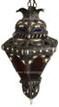Metal and Bone Color Glass Lantern LG050
