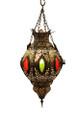 Multiple Color Glass Brass Lantern LL013
