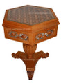 Hand Carved Wood Side Table with Glass Top