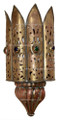 Brass and Copper with Colored Glass Eyes Wall Sconce WL052