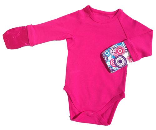 ScratchMeNot Body Suit Onesie Fuscia Pink - Mittens Closed