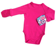 ScratchMeNot Body Suit Onesie Fuscia Pink - Mittens Closed