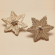 Starlet Snowflake Sterling Silver Earrings with Diamonds