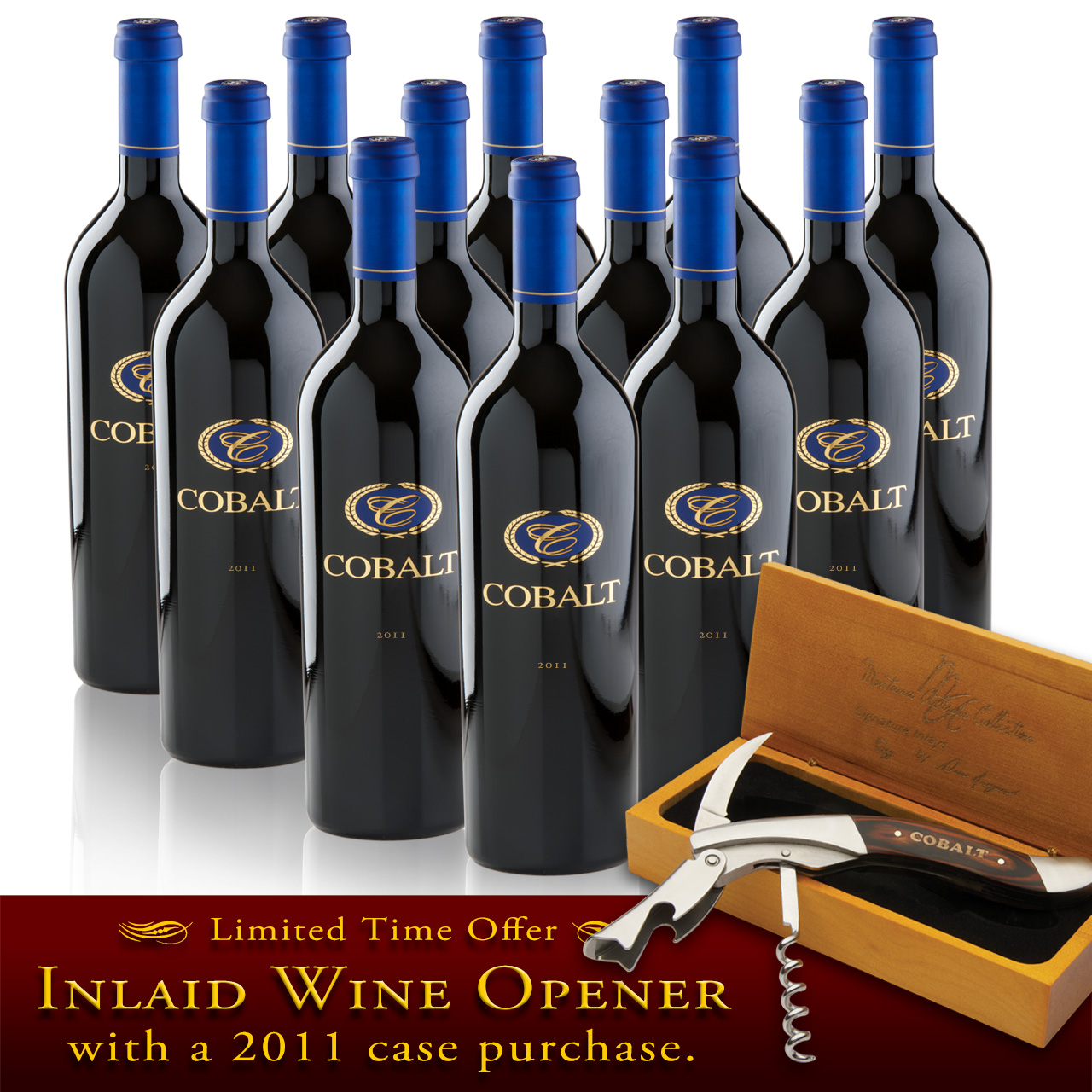 2011 Cobalt Cabernet 12 bottle case w/ Opener